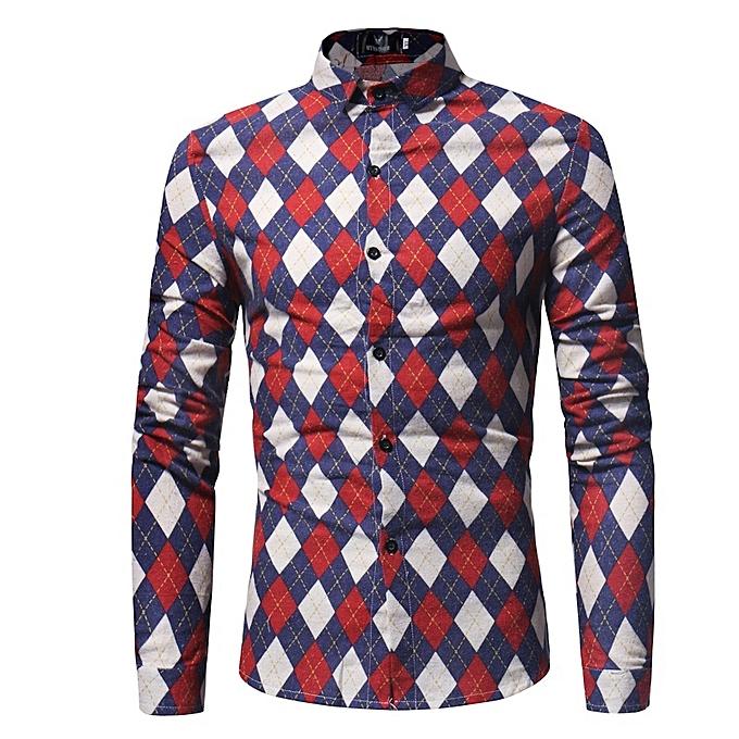 Other New Stylish Korea Casual Rhomboids Contrast Couleur Men's Shirt à prix pas cher