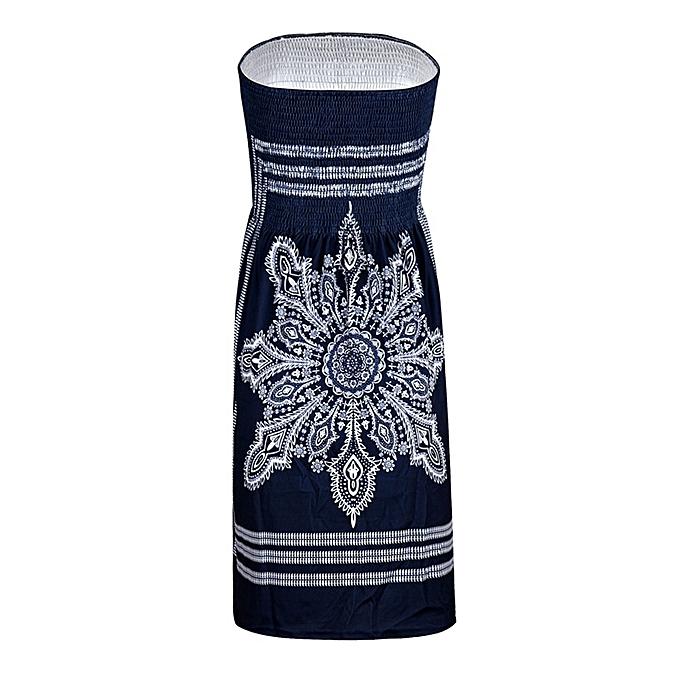 Generic Xiuxingzi femmes Strapless Floral Bohemian Casual Mini Beach Dress Cover-ups Dress à prix pas cher