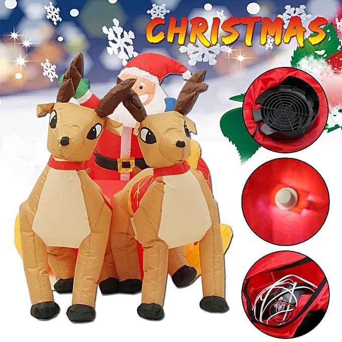 OEM 2.2M Jingle Jollys Christmas Inflatable Santa Sleigh Ride Reindeer Deer Decor à prix pas cher