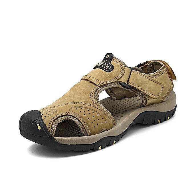 Fashion Men Anti Collision Toe Wear Resistance Outsole Comfy Casual Leather Sandals à prix pas cher