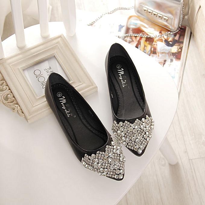 Fashion Casual femmes Rhinestone Crystal Pointed Toe Pumps femmes Ladies Flat Party chaussures noir à prix pas cher    Jumia Maroc