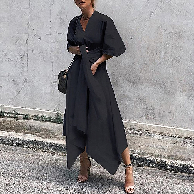 Fashion femmes Batwing Sleeve Asymmetric Long Pleated Shirt Dress à prix pas cher