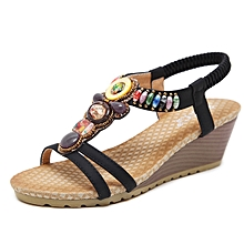 5f450e6ed417d1 Refined Large Size Female Sandals Beaded Bohemian Shoes Woman Sandals Wedge  Platform Shoes-black