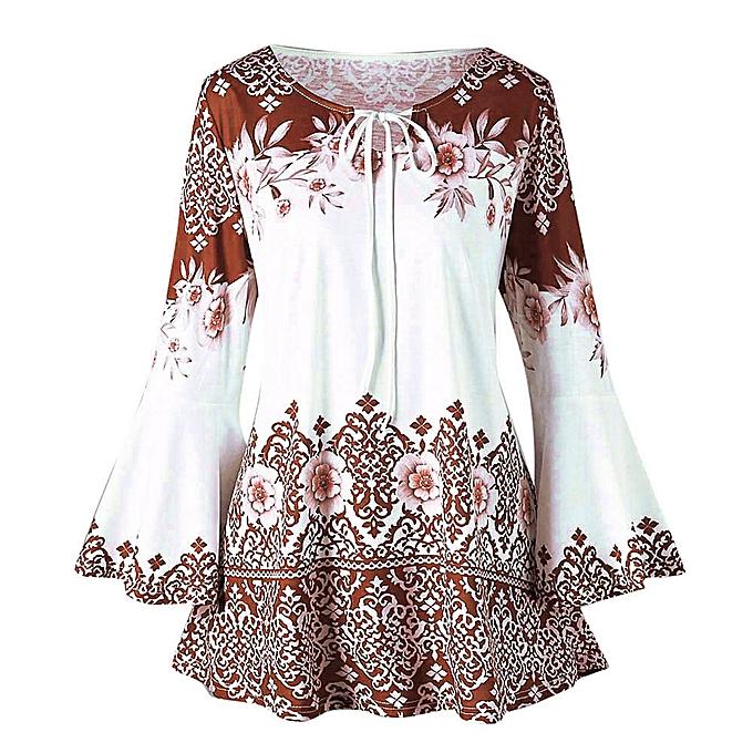 Fashion Fashion femmes Plus Taille Printed Flare Sleeve Tops Blouses Keyhole T-Shirts à prix pas cher