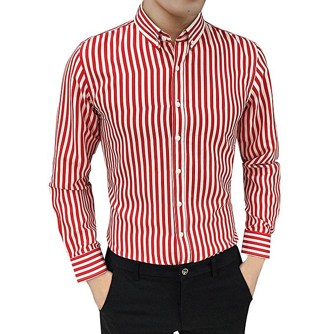 mode jiuhap store  Pour des hommes Suit Fit manche longue Button rayé Down Robe Shirts hauts chemisier RD L à prix pas cher