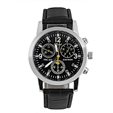 1b44fd06c Fashion Unisex Quartz Wristwatch Round PU Strap Lovers Analog Watch- Black