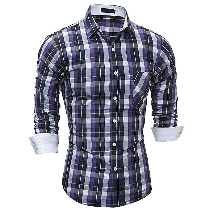 Other Men's Couleurful Plaids Long Sleeve Slim Shirt à prix pas cher