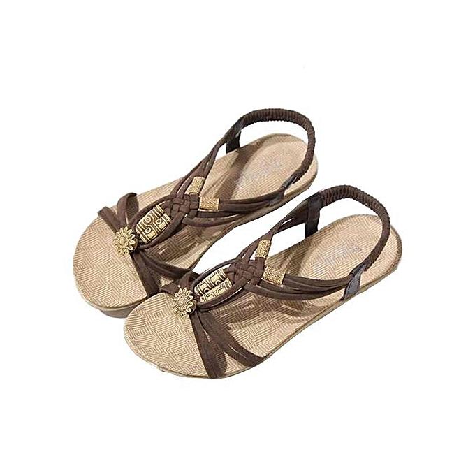 Fashion Hiamok_Summer Bohemia Sweet Beaded Sandals Clip Toe Sandals Beach chaussures à prix pas cher