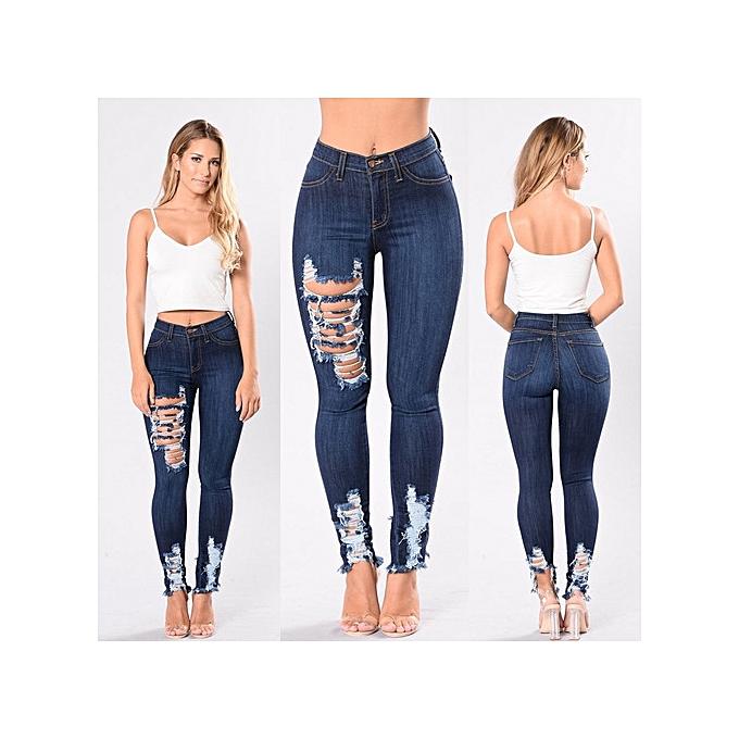 OEM nouveau style High waist hole stretch elastic  jeans female Décontracté pocket skinny pencil jean pants jeans femmes trousers-dark bleu à prix pas cher