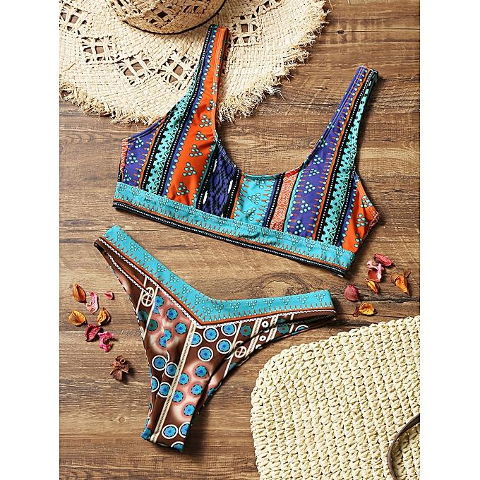 Generic HL Couleurful Printed High Cut Thong Bikini Set (Couleurmix) (M, S) à prix pas cher