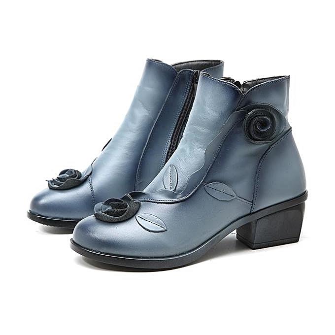Fashion SOCOFY Retro Handmade Rose Pattern Ankle Low  Heel Leather Fashion WoHommes  Low Boots à prix pas cher  | Jumia Maroc c71432