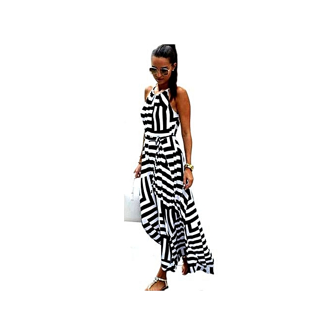 BleuLife femmes Irregular Geometrical Stripes Robe -noir&blanc à prix pas cher