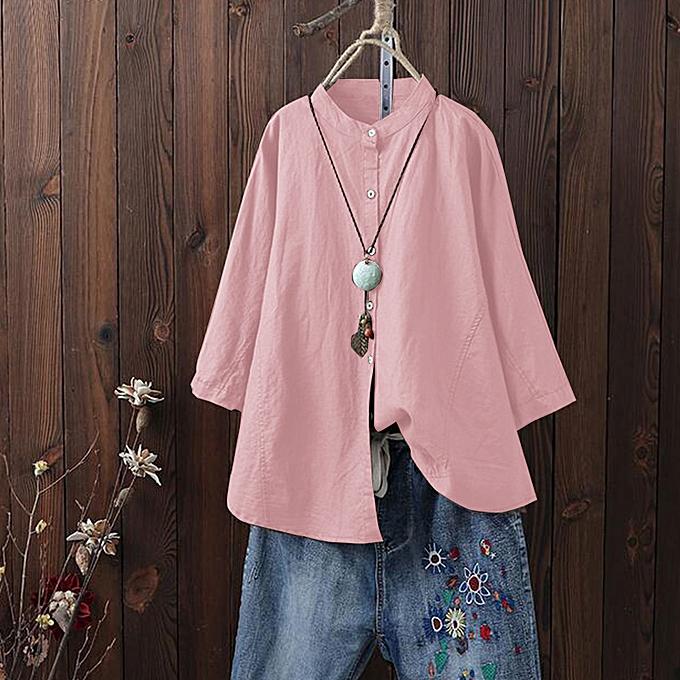 Zanzea ZANZEA femmes OverTailled Buttons Loose hauts Shirt chemisier Plus à prix pas cher