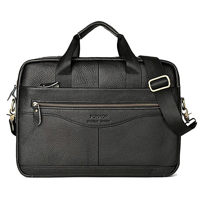 mode Vintage Hommes Genuine cuir Handsac Affaires Briefcase Messenger Shoulder sac  noir1 à prix pas cher