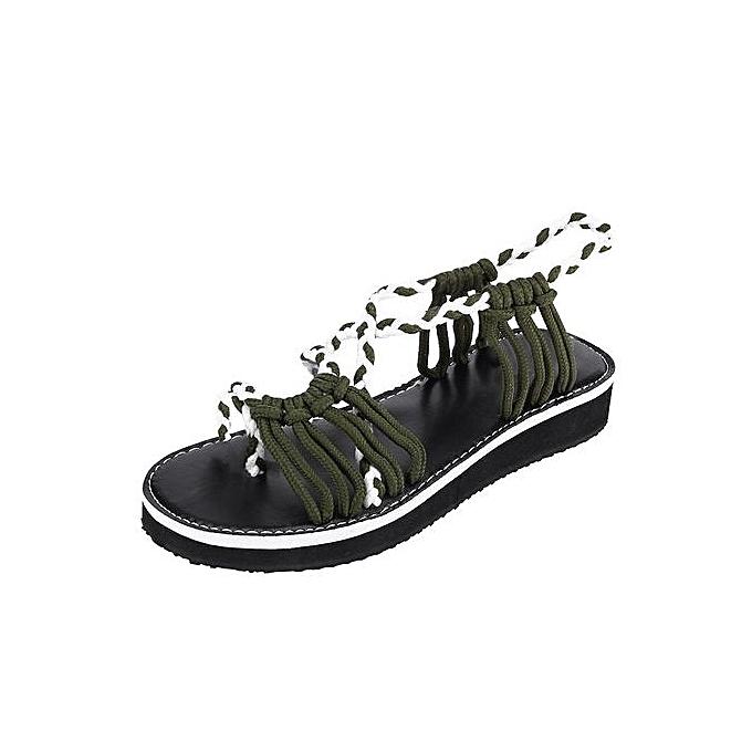 Fashion Blicool chaussures femmes Flip Flops Sandals Summer chaussures Woven Strap Fashion Beach chaussures Slippers Army vert à prix pas cher