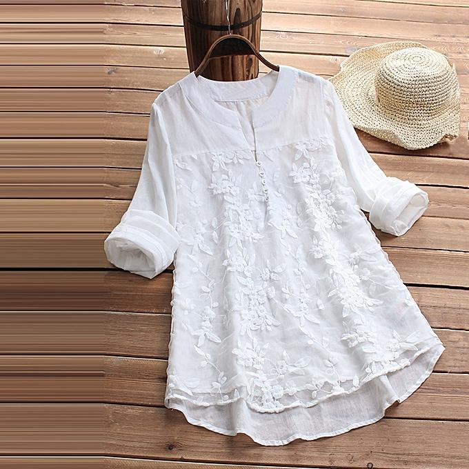 UNIVERSAL femmes Lace manche longue Loose Top chemisier V Neck Linen hauts T-Shirt Plus Taille 6-24 à prix pas cher