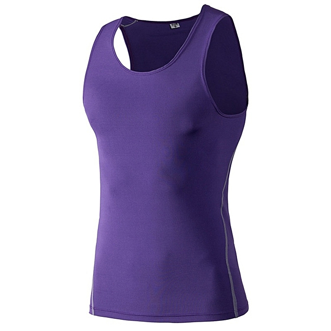 Other Stylish Men's Outdoor Tights Fitness Vest Fast Dry Vest Sleeveless -violet à prix pas cher
