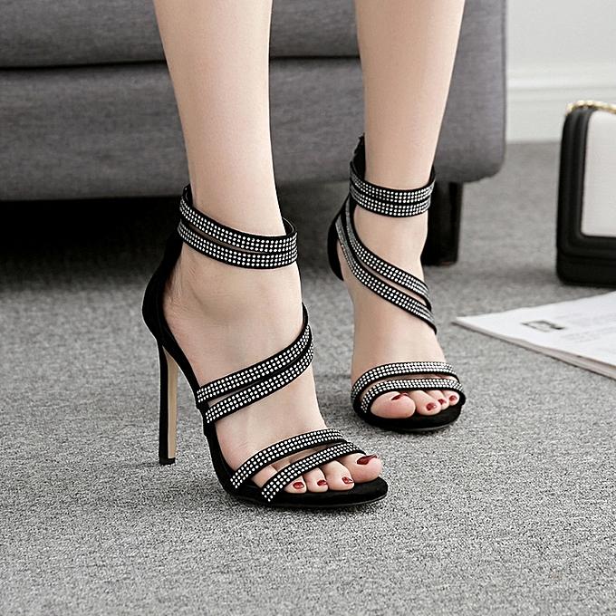 Generic Sedectres Fashion femmes Sandals Summer chaussures Party Wedding Rhinestone Sexy High Sandals -noir à prix pas cher