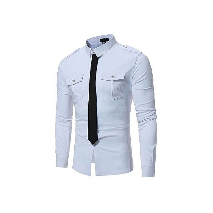 AFankara Slim Design Formal Casual Male Dress Shirt-blanc à prix pas cher