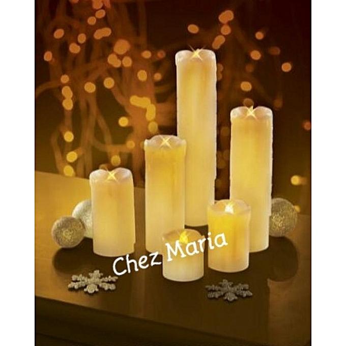 Pack de 6 bougies led en cire diff rentes tailles achat for Achat mobilier de jardin