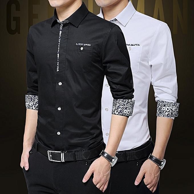 Tauntte 2-In-1 Long Sleeve Slim Fit Formal Shirst For Men (noir) à prix pas cher