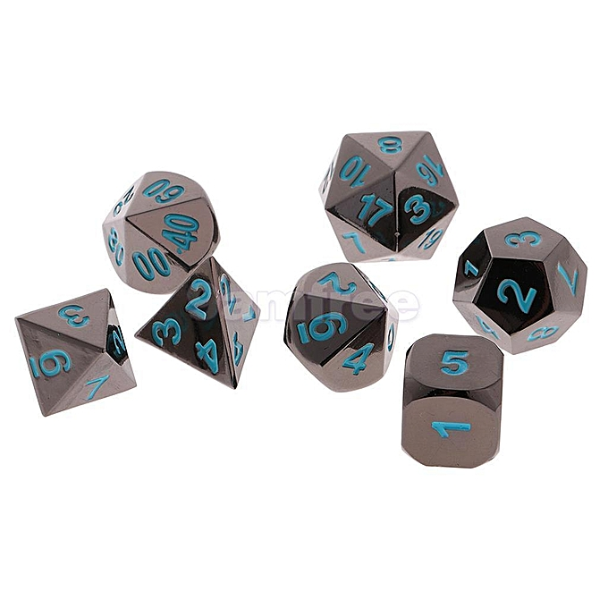 UNIVERSAL noir Nickel Dice Set Numberal Polyhedral for Dungeons and Dragons Warhamme   bleu à prix pas cher
