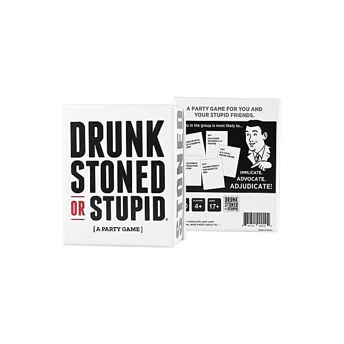 Generic UJ Card Game DRUNK STONED OR STUPID For You And Your Stupid Friends 4+ Players-noir & blanc à prix pas cher