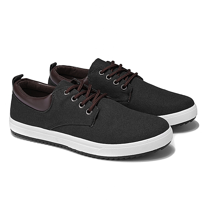 Fashion Men's Casual Canvas Loafers Low Top baskets Lace up Driving Walking Board Flats à prix pas cher