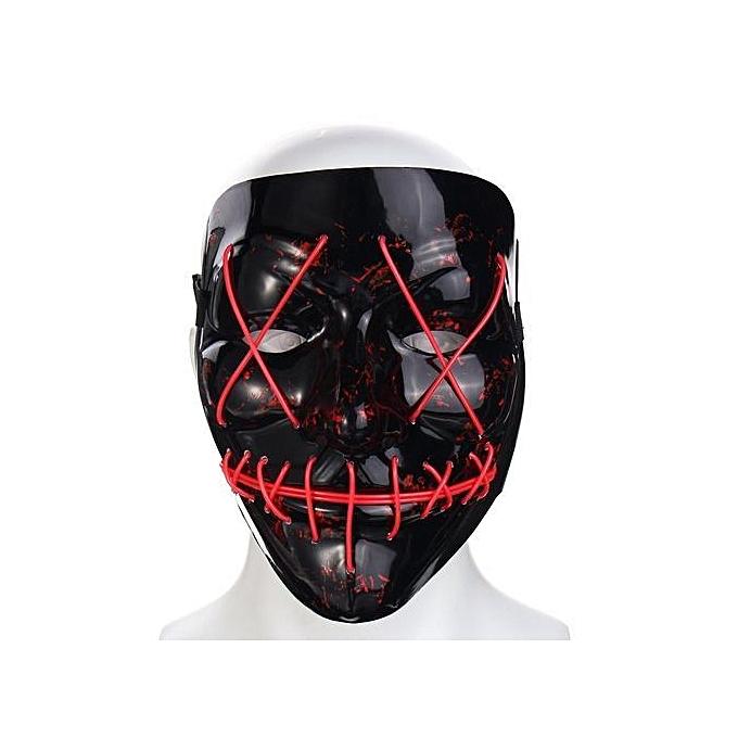 Generic LED lumière Up Flash EL Wire DJ Party Raver Svoiturey Mask HalFaibleeen Costume Cosplay rose à prix pas cher