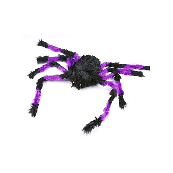 Generic DM HalFaibleeen Props Plush Spider Haunted House Bars Decorative Supply Tricky Toy-violet & noir à prix pas cher