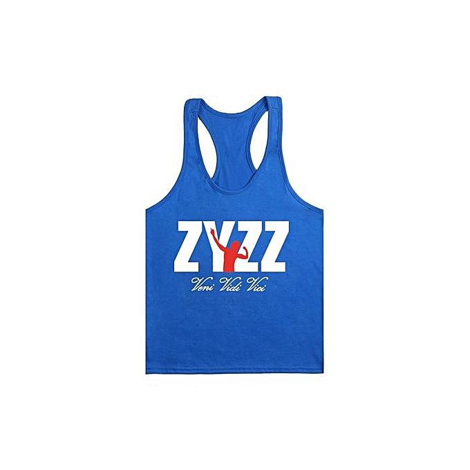 Other Hommes& 039;s été Sportswear BodybRuilding Fitness Cotton Printed I-shaped ZYZZ Vest-bleu&blanc à prix pas cher
