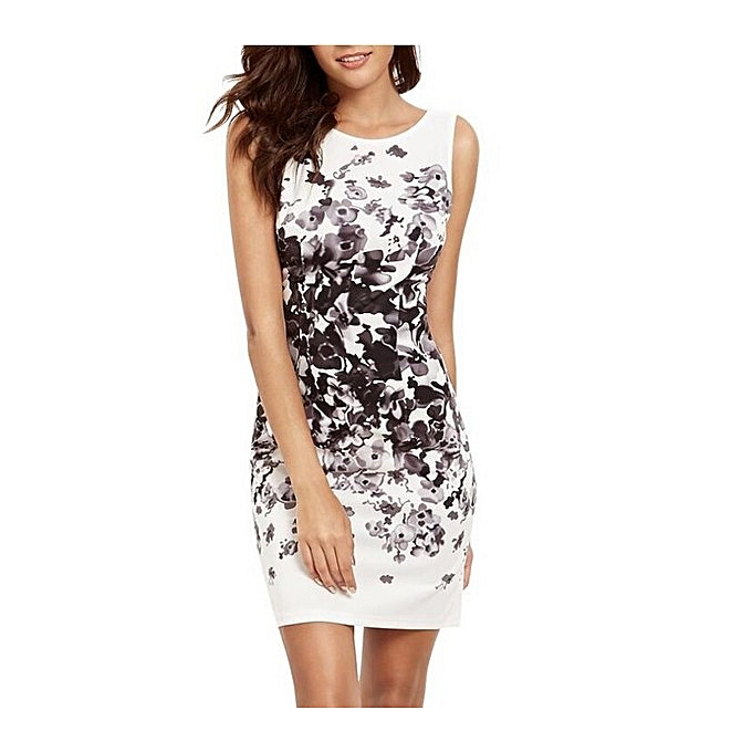 OEM Large Taille femmes Dresses Sheath Knee-Kength Sleeveless Cocktail Hip Printed Dress for femmes-noir à prix pas cher
