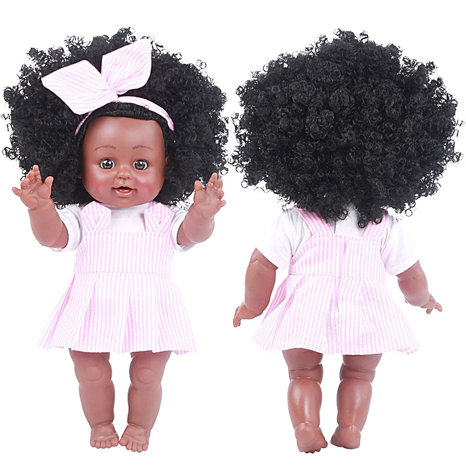 Generic noir Girl Dolls African American Play Dolls Lifelike 35cm   Play Dolls PK à prix pas cher