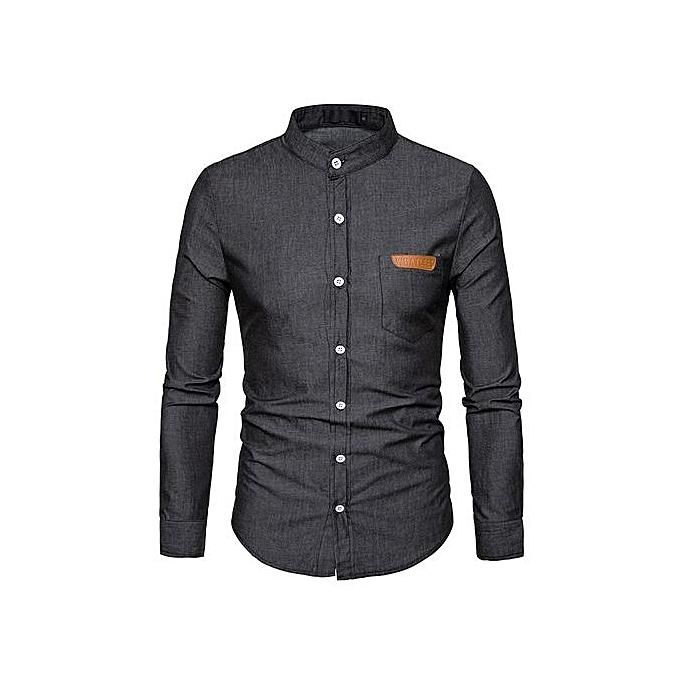Other European Taille Hommes& 039;s Pocket Denim manche longue Shirt à prix pas cher