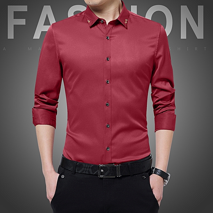 Tauntte Long Sleeve Formal Shirts For Men (rouge) à prix pas cher
