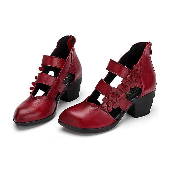 Fashion SOCOFY Fashion WoHommes  Zipper Genuine Leather Leather Genuine Retro Casual Flower Pumps Sandals-EU à prix pas cher  | Jumia Maroc 18470f
