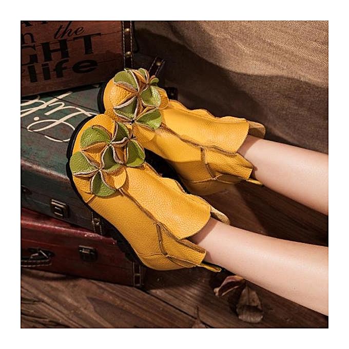 Fashion SOCOFY Fashion WoHommes  Flower Soft Leather Leather Leather Ankle Vintage Zipper Flat Boots à prix pas cher  | Jumia Maroc cb0a1c