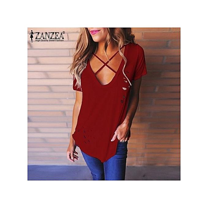 mode ZANZEA femmes Décontracté Cotton manche courte Lace Up hauts Ladies Ripped Hole Deep V-Neck Shirt Basic Plain Tee T-shirt Plus Taille (Wine rouge) à prix pas cher