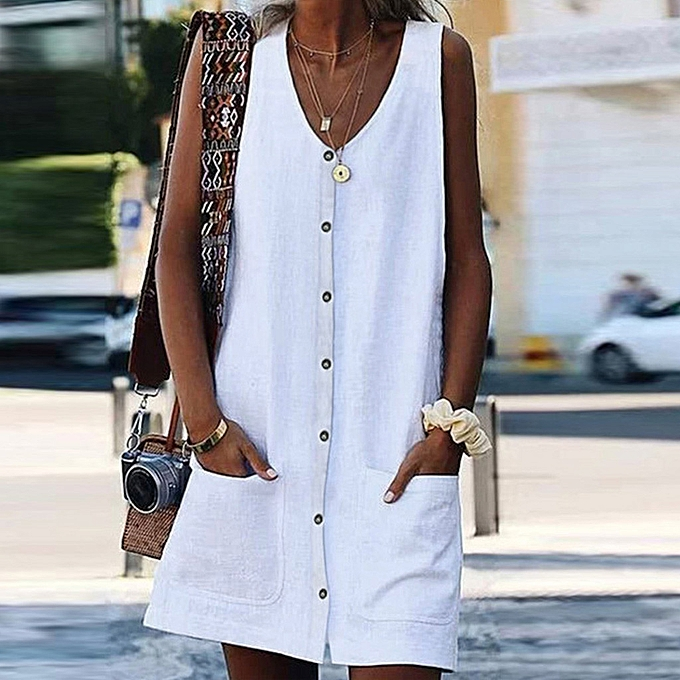 Fashion femmes Summer Sleeveless Solid  V Neck Dresses Pocket Casual Line Dresses à prix pas cher