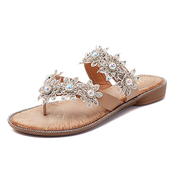 Fashion Summer Pearl Flowers chaussures Comfortable Casual Slippers à prix pas cher    Jumia Maroc