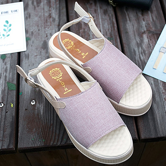 Fashion (Xiuxingzi) Wohommes Vintage Roman Flat Sandals Buckle Platform Open Toe Platform chaussures à prix pas cher