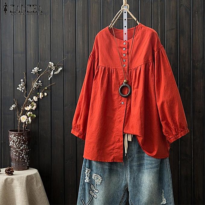 mode ZANZEA femmes& 039;s Lantern Sleeve Buttons Down Shirt hauts Cotton Décontracté Plain chemisier Plus à prix pas cher