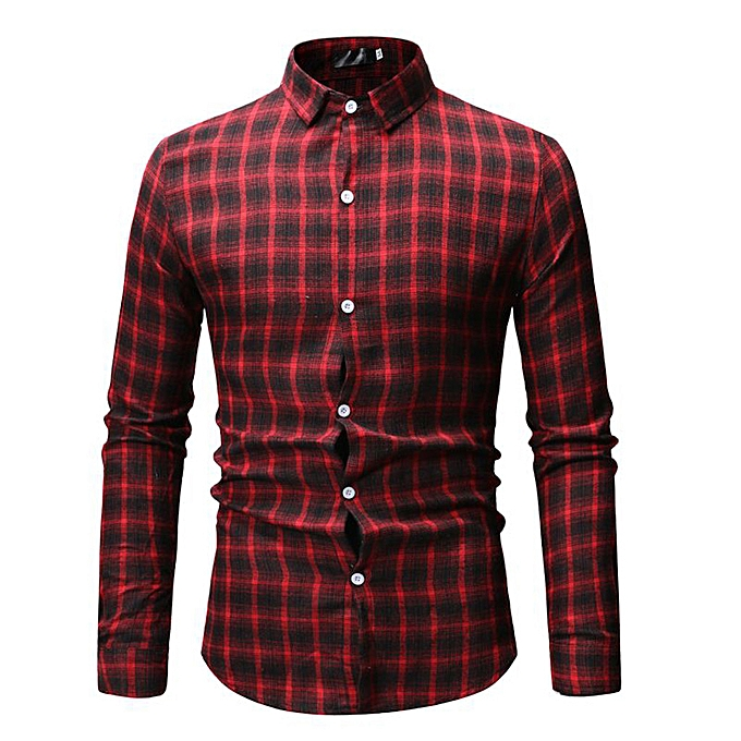 Fashion jiahsyc store Men's New Simple Chequerouge Long Sleeve Shirt Fashion Long Sleeve Blouse Top à prix pas cher