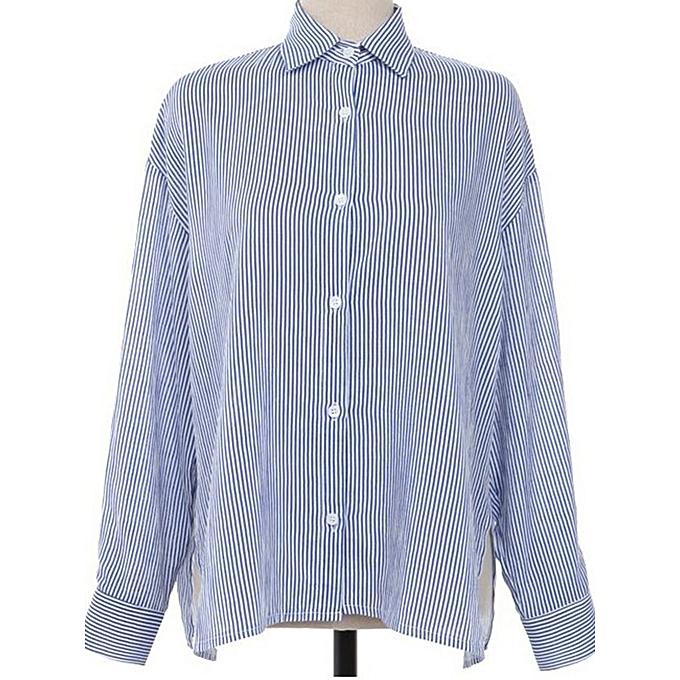 Fashion femmes Casual Lapel Long Sleeves Split Hem Striped Cotton Shirts à prix pas cher