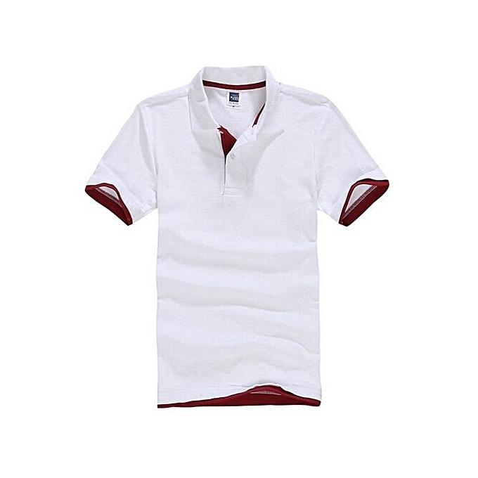 Generic Hommes& 039;s Polo Shirt With Contrast Hem (blanc rouge) à prix pas cher