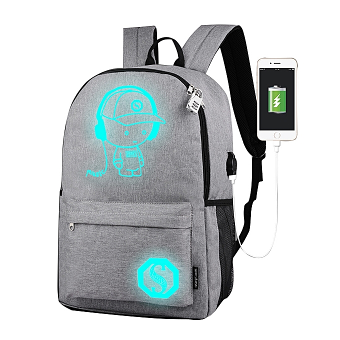 UNIVERSAL Multi-Function Large Capacity Oxford Cloth Light gris Music Boy Luminous Backpack Casual Laptop Computer Bag with External USB Charging Interface for Men   femmes   Student, L, Taille  482917cm à prix pas cher