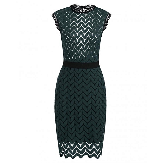 Sunshine New femmes Vintage Styles O-Neck Sleeveless Zigzag Hollow Out Lace Backless Tunic Sheath Cocktail Party Dress With Lining-Dark vert à prix pas cher