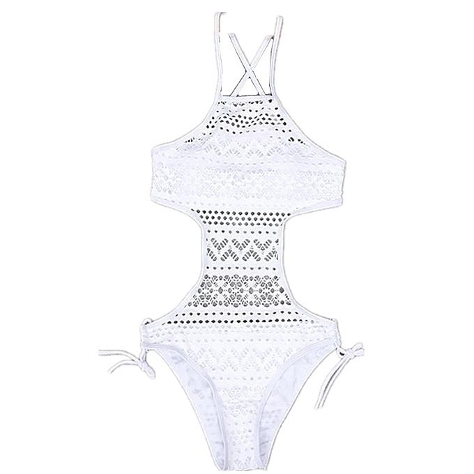 Autre maillot de bain Crochet Push Up maillot de bain Taille 3XL Bathing Suits femmes Halter  noir Lace maillot de bain(7) à prix pas cher