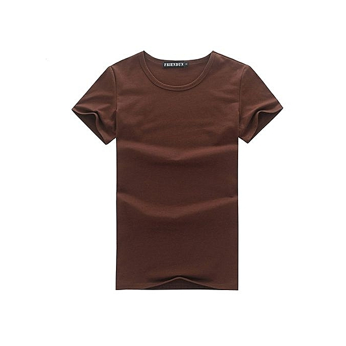 Generic Men's Casual O-neck Short Sleeve Shirt (Coffee) à prix pas cher
