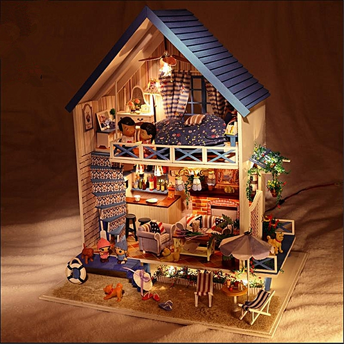 UNIVERSAL Hoomeda DIY bois Rohommetic Aegean Sea Dollhouse Miniature With LED Music Furniture Doll House- à prix pas cher